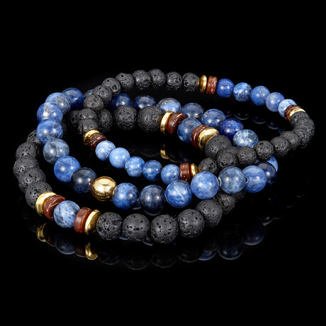 Sodalite + Lava + Wood + Gold Hematite Bead Stretch Bracelets // Set of 3 // Blue + Black