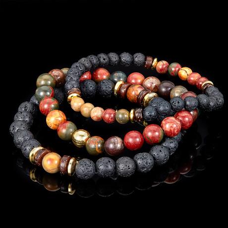 Picasso Jasper + Lava + Wood + Gold Hematite Bead Stretch Bracelets // Set of 3 // Brown + Black