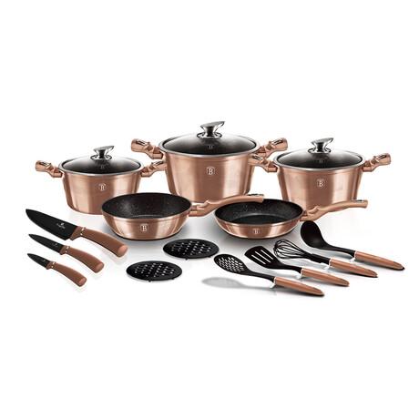 17-Piece Kitchen Cookware Set // Rose Gold
