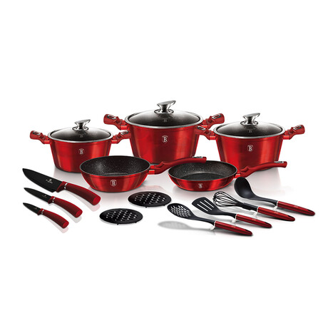 17-Piece Kitchen Cookware Set // Burgundy