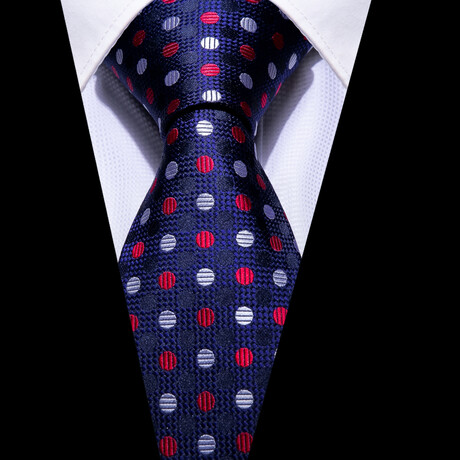 Turner Silk Tie // Navy + Red