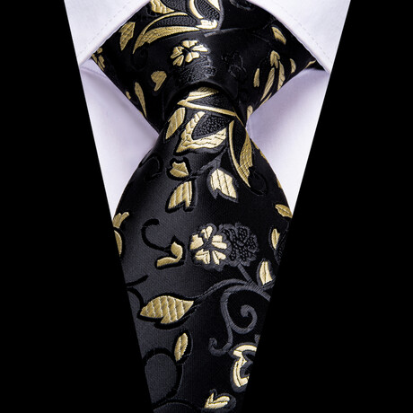 Maya Silk Tie // Black + Gold