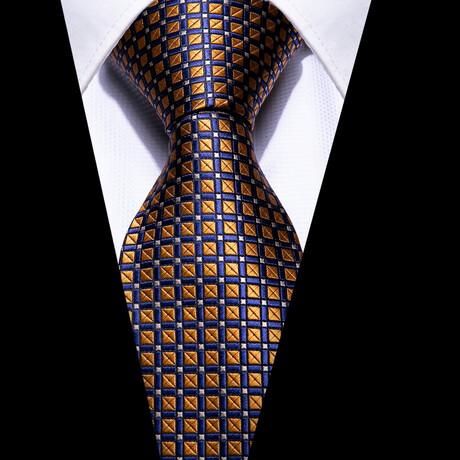 Marcel Silk Tie // Gold + Navy