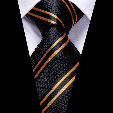 Alvar Silk Tie // Black + Gold