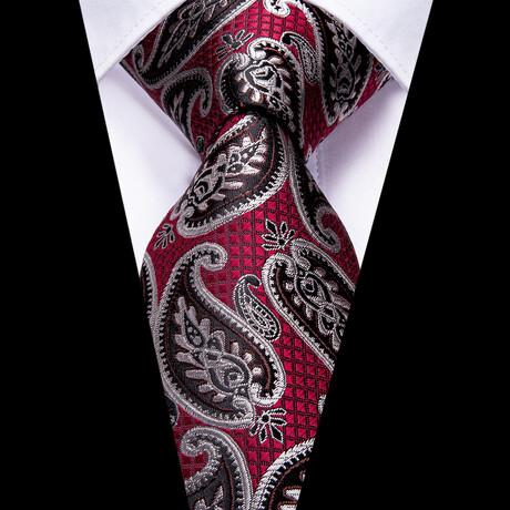 Dragon Silk Tie // Dark Red + Black