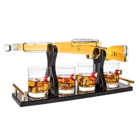 Rifle Whiskey Set // Decanter + 4 Shotgun Bullet Glasses