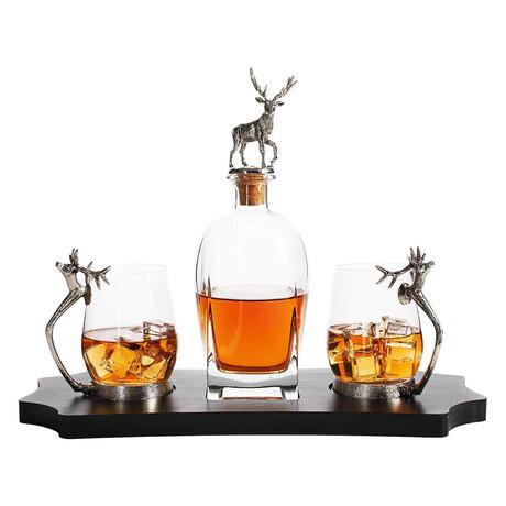 Stag Whiskey Set // Decanter + 2 Stag Whiskey Glasses