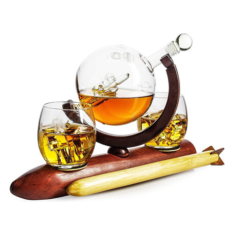 Rocket Whiskey Set with Solar System // Decanter + 2 Planet Whiskey Glasses