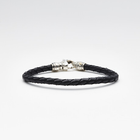 Bali Accented Bracelet + Leather Detail // Black + Silver + Gold