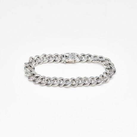 Men's Scroll Tribal Link Bracelet // Silver