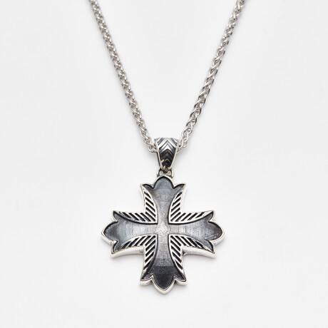 Men's Textured Cross Pendant + Rhodium Plated Wheat Chain // Silver