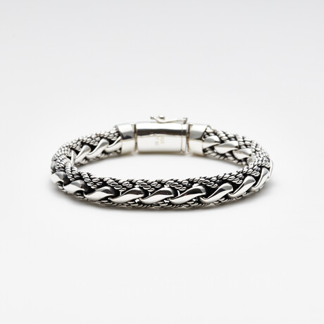 Men's Braided Bracelet // Silver