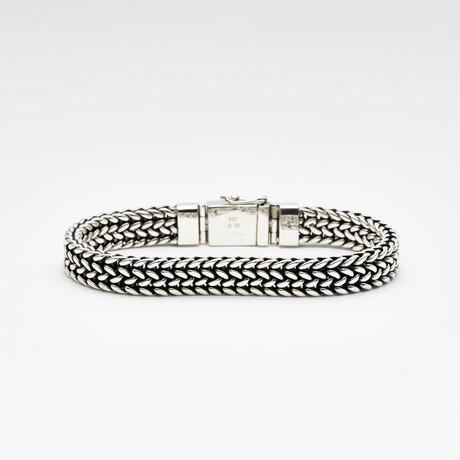 Men's Double Foxtail Bracelet // Silver