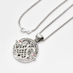 Men's Bali Carved Dragon Viking Pendant + Red Sapphire Accents + Rhodium Plated Wheat Chain // Silver
