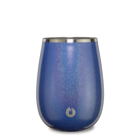 Insulated Stainless Steel Wine Glass with Lid // 13 oz (Shimmer Blue)
