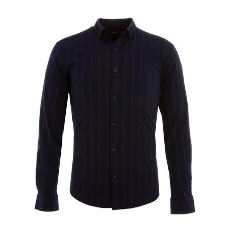 Lutsenko Long Sleeve Button Down Shirt // Dark Blue + Claret Red (XS)