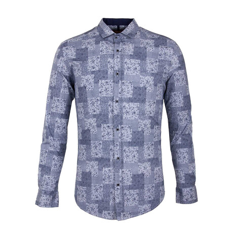 Wellens Long Sleeve Button Up Shirt // Dark Blue (XS)