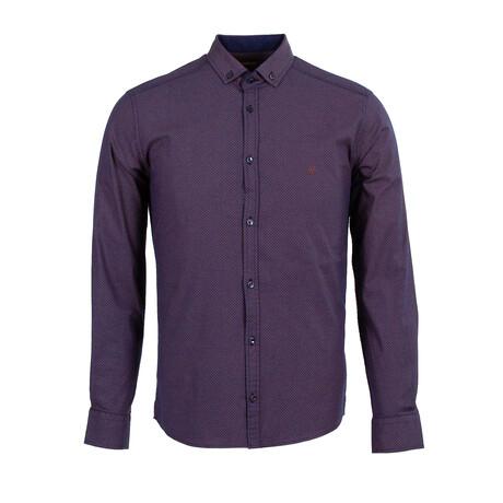 Craddock Long Sleeve Button Down Shirt // Dark Blue + Camel (XS)
