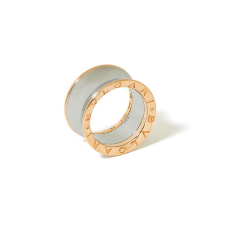 18K Rose Gold + Steel BVLGARI B. Zero 1 Ring // Ring Size: 5.75 // New