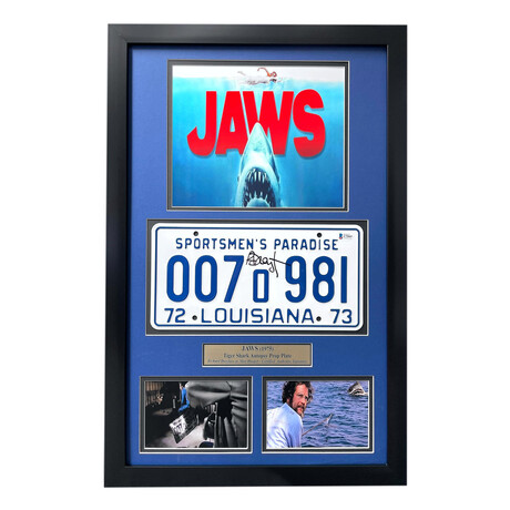 Jaws // Richard Dreyfuss // Movie Car License Plate // Signed Replica License Plate Display