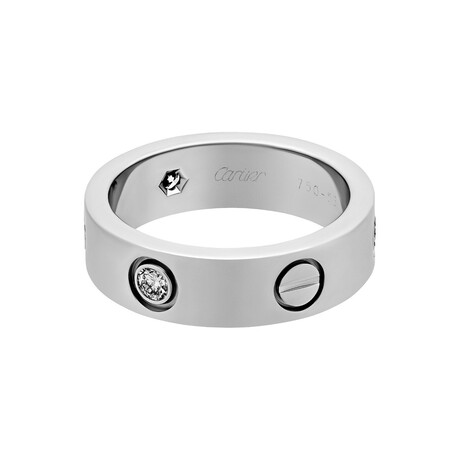 Cartier // 18k White Gold 3 Diamond Love Ring // Ring Size: 5.25 // Pre-Owned