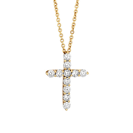 """Tiffany & Co. // 18k Yellow Gold Diamond Cross Necklace // 16"""" // Pre-Owned"""