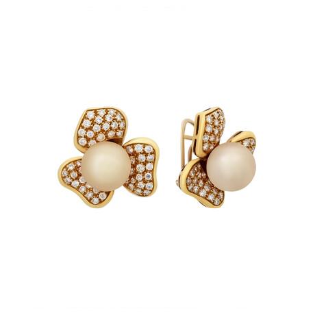 Salavetti // 18k Yellow Gold Diamond + Pearl Flower Earrings // Pre-Owned