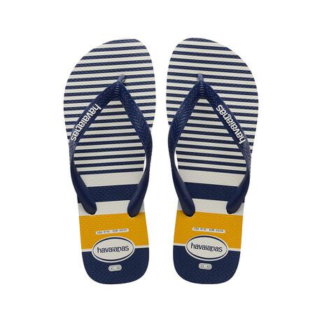 Top Nautical Sandal // White + Navy + Yellow (US: 8)