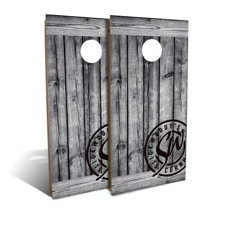 Rustic Gray Barnwood // Cornhole Board Set