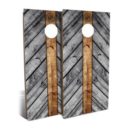 Gray Wood Lines // Cornhole Board Set
