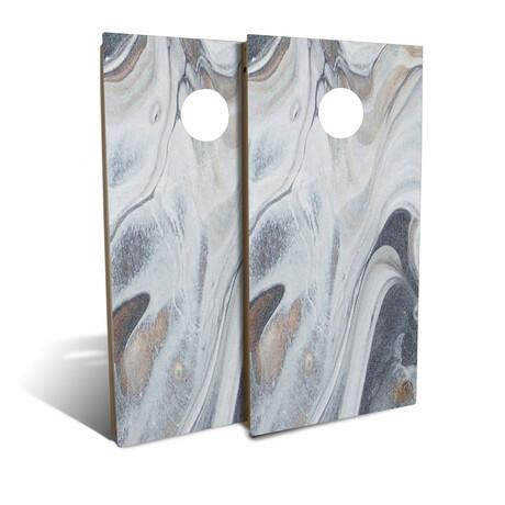 Gray Marble Cornhole Board Set