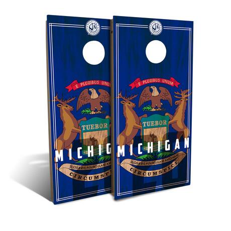 Michigan State Flag Cornhole Board Set (Classic)