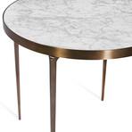 Violet Side Table (Carrara White + Antique Bronze)