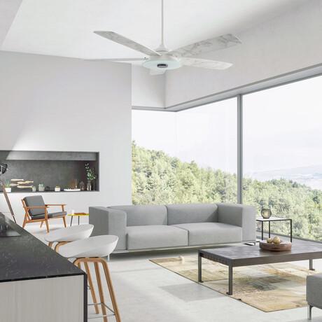 """Striker Outdoor Smart Ceiling Fan + LED Light Kit // White Body + Marble Finish Blades (52"""")"""