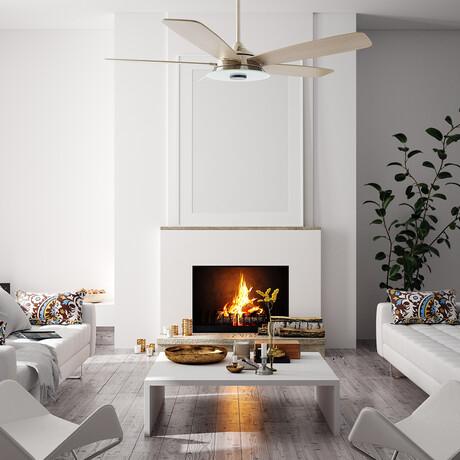 """Striker Outdoor Smart Ceiling Fan + LED Light Kit // Silver Body + Wood Blades (52"""")"""