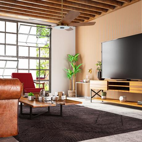 "Striker Outdoor Smart Ceiling Fan + LED Light Kit // Gold Body + Wood Blades (56"")"