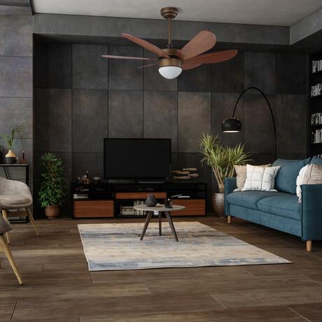"""Minimus 38"""" Smart Ceiling Fan w/ Smart Wall Switch // Oil Rubbed Bronze Body + Brown Blade"""