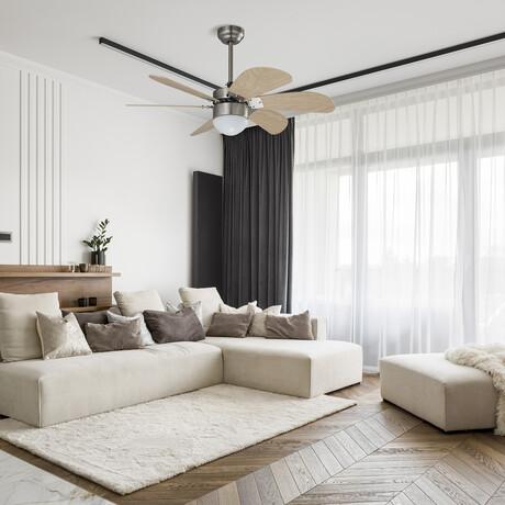 """Minimus 38"""" Smart Ceiling Fan w/ Smart Wall Switch // Silver Body + Light Wood Blade"""