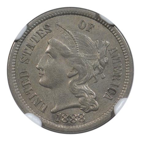 1888 Three Cent Nickel // NGC Certified // AU-58
