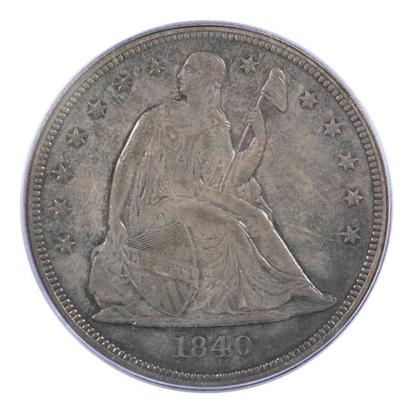 1840 Seated Liberty Dollar // PCGS Certified // AU-50