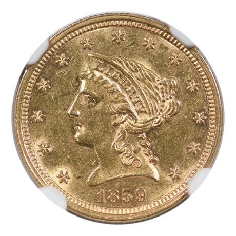 1859 $2.50 Gold Liberty Head // NGC Certified // AU-58