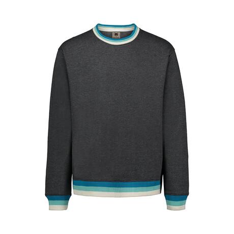 Cuff Stripe Fleece Crew // Charcoal (S)