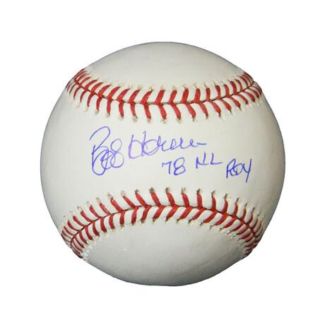"Bob Horner // Signed Rawlings Official MLB Baseball // ""'78 NL ROY"" Inscription"