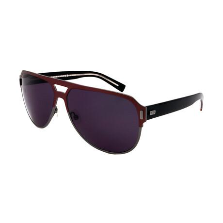 Dior // Men's BLACKTIE2-0-T9H Round Sunglasses // Burgundy + Gray