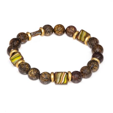Dell Arte // Coffee Jasper Bronzite + Bohemian Crystal Inserts Beaded Bracelet // Multicolor