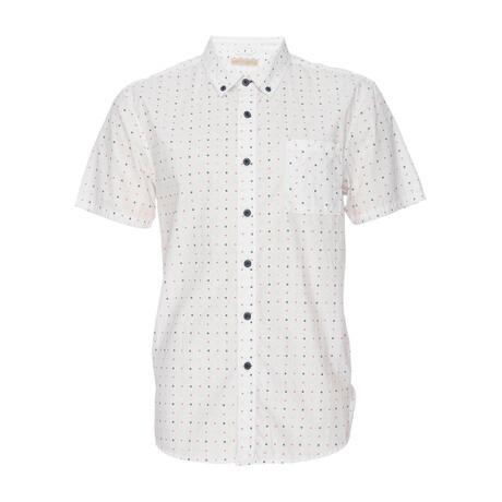 Truman Button Down Shirt // White + Motif Print (XS)