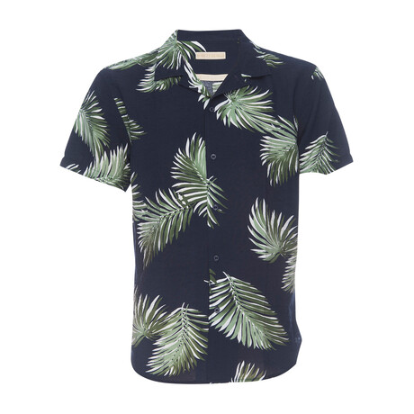 Truman Camp Shirt // Navy + Palm Leaf Print (XS)