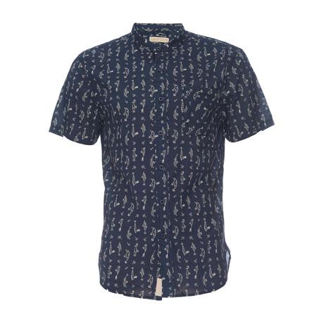 Truman Banded Collar Shirt // Navy + Fish Hook Print (XS)
