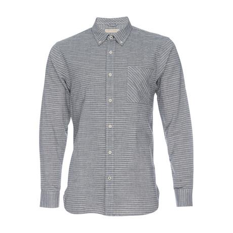 Truman Button Down Shirt // Stripe Gray + White (XS)
