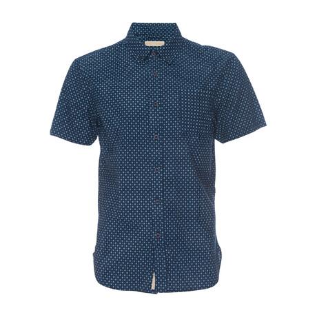 Truman Printed Seersucker Short Sleeve Button Down Shirt // Navy + Light Blue (XS)